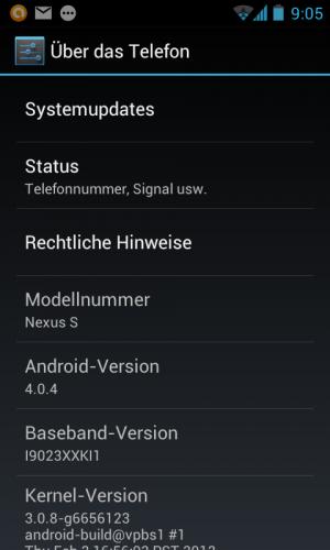Das OTA-Update bringt Android 4.0.4 auf das Nexus S