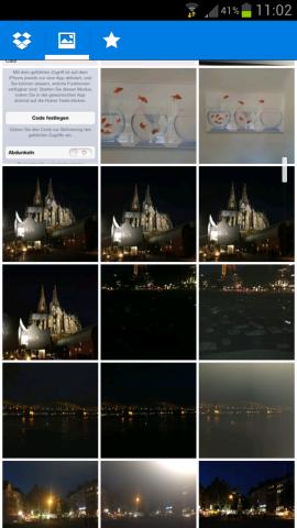 Die neue Dropbox-Ansicht der hochgeladenen Bilder