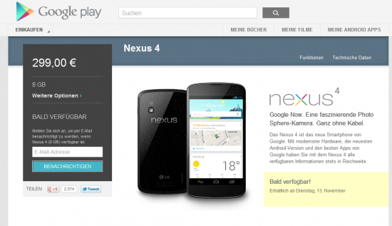 Nexus 4 (8 GB) - Google Play