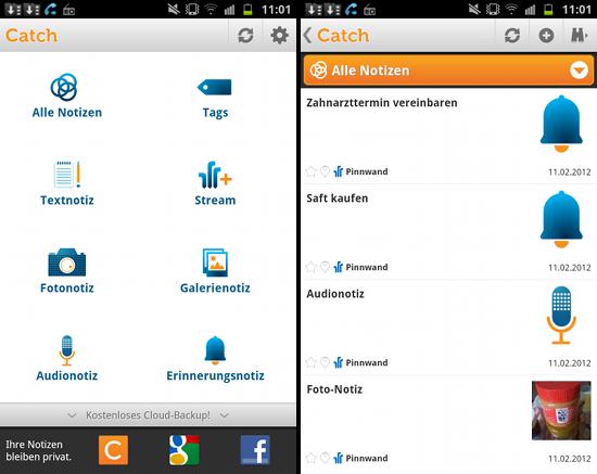 Catch erinnert per Text, Foto, Link und Audio an Aufgaben und Interessantes