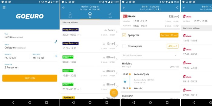 Go Euro App für Bus und Bahn