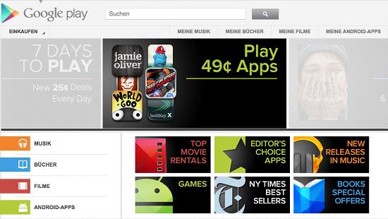 Alle digitalen Medien gibt es bei Google Play