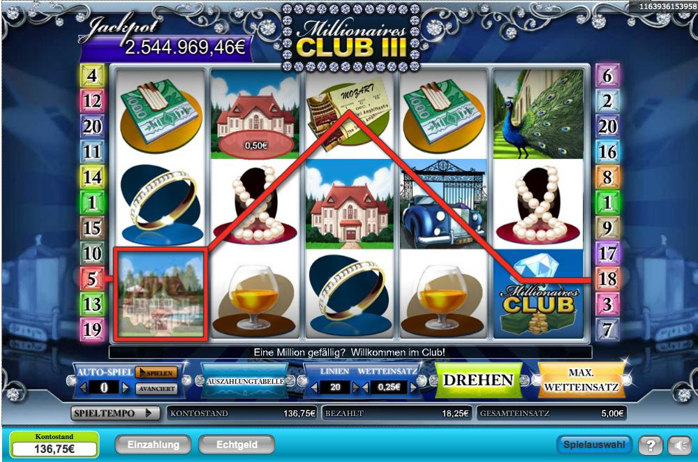 Kombination in drei Reihen bei Prime Slots
